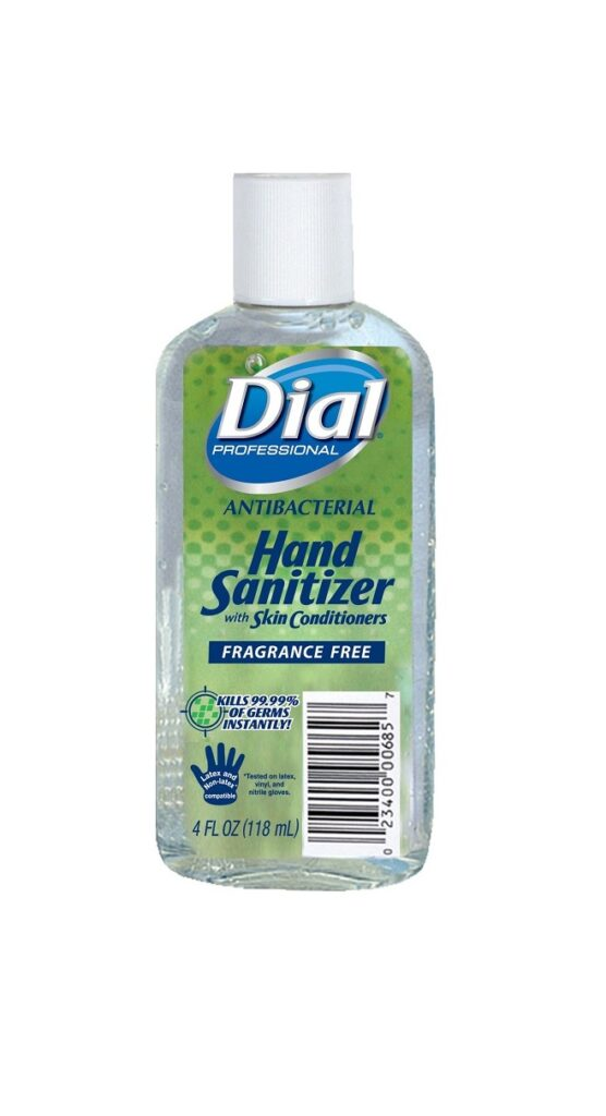 Dial Antibacterial Gel Hand Sanitizer Fragrance-Free with Moisturizers, Flip Top Cap, 4oz
